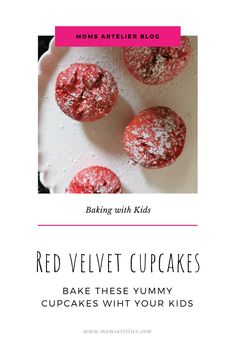 Make these delicious, bright red cupcakes with your kids. They are yummy on their own or you can add some cream cheese ice-cream. Red Cupcakes, Red Velvet Cupcakes, Baking Cupcakes, Yummy Cupcakes, Red Velvet Recipes, Red Food Coloring, Baking With Kids, Vanilla Essence, Delish