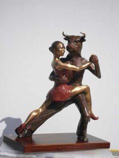 #Bronze #sculpture by #sculptor Anna Mariani-Mauger titled: 'Beauty and the Beast (Tango Dance Duet Bulls Head sculptures/statues)'. #AnnaMarianiMauger