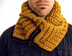 Items similar to Chunky knit cowl with zipper. The Marshall Cowl in Butterscotch on Etsy Crochet Men, Crochet Hood, Diy Crochet And Knitting, Crochet For Boys, Knit Cowl, Knitted Shawls, Knitted Blankets, Crochet Scarves, Crochet Neck Warmer