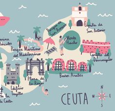 Map project about ceuta, my birthplace. Map Projects, Road Trip With Kids, Illustrations, Type Illustration, Map Design, Graphic Design, Vintage Travel Posters, Spain Travel, Art Day