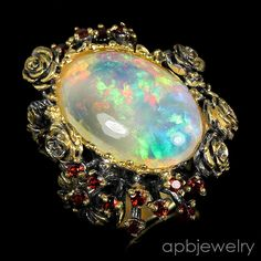 Real Top aaa+ 10ct Natural Opal 925 Sterling Silver Ring Size 7/R34322 #APBJewelry #Ring