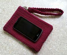 Wristlet Cell Phone Bag crochet fuschia purple with zipper FREE SHIPPING USA by DesignsbyMissJP on Etsy