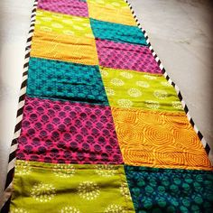Weekend quilting. #tablerunner #quilting #quiltsofinstagram #makersgonnamake #sewing #blockprint #indianfabric #colours #handmade #happiness