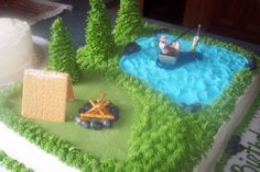 Fishing/Camping Cake - I made this for one of our companies district sales managers. it was his 60th birthday and I did it for a surprise at our sales meeting.