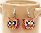 owl earrings - polymer clay