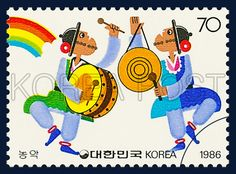 POSTAGE STAMPS FOR FOLKWAYS SERIES(Ⅲ), Instrumental music of peasants, traditional culture, white, blue, yellow, 1986 08 26, 민속시리즈(세번째묶음), 1986년 08월 26일, 1443, 농악, postage 우표