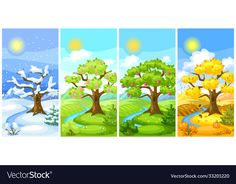 Four Seasons Painting, Scenery Drawing For Kids, Mind Map Art, Printable Leaves, Ap Drawing, Flashcard, Seasons Of The Year, Pencil And Paper, Winter Landscape