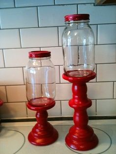 candy jar made with candlestick and mason jar - gift idea