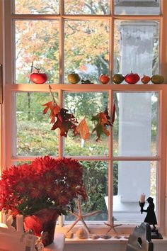 Window Decorations w/ Leaves & Apples: Tie the leaves to fishing line or use…