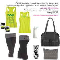 exercise outfit and cute gym bag from thirty-one.  paired with a water-resistant zipper pouch and flat iron case, you're all set to go!  and in April, all 3 pieces can be yours for $63 www.mythirtyone.com/hmarkhardt