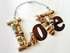 Wine Cork Sculpture Love Valentine Hanging Sign by KristinRebecca, $32.50