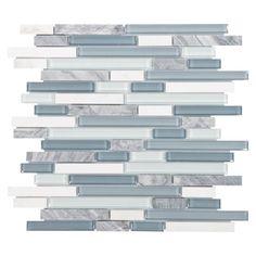 Floor & Decor Bliss Waterfall Glass Stone Linear Blend Mosaic Tile | Floor & Decor $10.77sqft