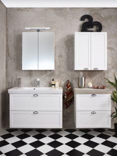 Badrumsserie - Artic. Trivsamt, trendigt och praktiskt med Logic badrumsskåp i färgen Classy White.   GUSTAVSBERG