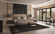 Cipriani Homood x Denino Furniture high-end interior design and detailed luxury furniture pieces for this chalet bedroom with a tranquil view.