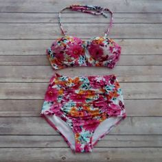Floral Bustier Bikini  Vintage Style High Waisted by Bikiniboo