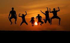 People Jumping in Sunset Silhouettes Beach Vacation by kbcamera, $10.00