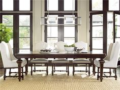 Shop Proximity Extending 9 Piece Dining Room Table Set on sale at Zin Home. This rectangular extendable dining sets include 1 table, 2 host chairs and 6 upholstered side chairs. feature 20 extension leaf and square patterned table top Stacy Furniture, Dining Furniture, Furniture Ideas, Farmhouse Furniture, Cabin Furniture, Furniture Outlet, Bedroom Furniture, Modern Furniture, Cafe Chairs
