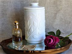 White Milk Glass Vanity Jar, Vintage Bathroom Decor, Cotton Wool Holder, Milk Glass Cotton Wool Jar, Vanity, Makeup Brush Holder, French, by JadisInTimesPast on Etsy
