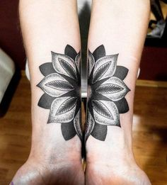 Mandala tattoo on both wrists to form the whole shape