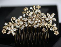 Gold Flower Hair Comb Bridal Headpiece in by LuluSplendor on Etsy