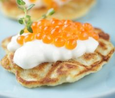 Blini with Caviar | This blini recipe from James Beard is super simple. Serve the pancakes hot; top with crème fraîche and the best caviar you can find. Champagne or chilled vodka are perfect accompaniments.
