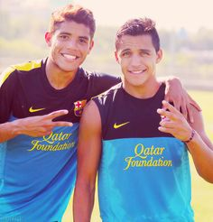 It was a great time with you. Good luck for the future :) Jonathan Dos Santos and Alexis Sanchez Alexis Sanchez, Soccer Quotes, Attractive Men, Fc Barcelona, Cute Guys, Football, My Love, Celebrities, Hot