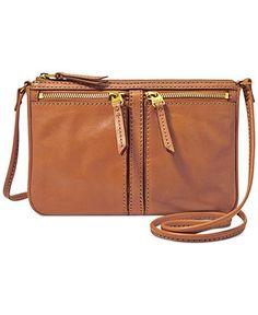 Fossil Erin Leather Small Top Zip Crossbody - Fossil Handbags - Handbags & Accessories - Macy's