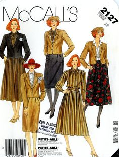 Vintage Sewing Pattern - 1985 Misses Jacket, Blouse, Tie and Skirt, McCall's 2127 Size 12 Bust 34