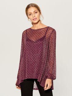6407e1f5efa Асимметричная блузка с завязкой - фиолетовый - VS995-49X - Mohito - 1