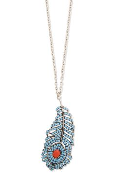 i secretly love this.  (SECRET WANT)  Turquoise Crystal Feather Necklace
