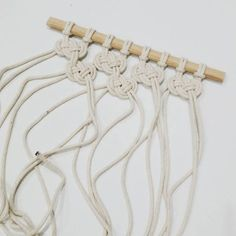 Tonight I am testing out an idea I had for an easy macrame wall hanging (because I am such a party animal on a saturday night )! It looks like it might just work out so if so I will do a tutorial xx No automatic alt text available.Macrame knots how d Macrame Wall Hanging Diy, Macrame Curtain, Macrame Plant Hangers, Macrame Art, Macrame Projects, Macrame Knots, Macrame Wall Hangings, Rope Crafts, Yarn Crafts