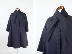1950s Black Swing Coat / Halloween Coat  M/L by LoveCharles