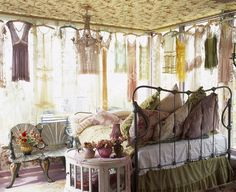 Betsey Johnson's Apartment - bedroom; bed facing windows.