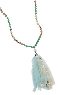 Southern Junkie Sandy Sea Beaded with Fabric Tassel Necklace Horseshoe Necklace, Tassel Necklace, Turquoise Necklace, Pendant Necklace, Cowgirl Jewelry, Western Jewelry, Cowboy And Cowgirl, Sparkles, Jewelry Accessories
