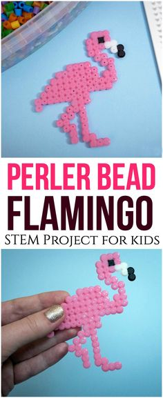 Start Out Your Very Own Sewing Company This Perler Bead Flamingo Project Is A Fun And Adorable Way To Help Kids Develop Fine Motor Skills, Patience And Artistic Design Flamingo Craft, Flamingo Pattern, Animal Crafts For Kids, Diy Crafts For Kids, Zoo Crafts, Craft Kids, Kids Diy, Decor Crafts, Perler Bead Art