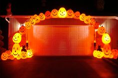Arch Friendlies Put a smile on your driveway with a rainbow made of plastic pumpkins. Stakes on either side of the driveway are all that's needed to anchor an arch made of plastic PVC pipe; pumpkins are attached with zip ties. Lighting comes courtesy of a string of Christmas lights with clear bulbs; different size bulbs vary the lighting intensity for each pumpkin
