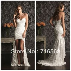 Free shipping Custom romantic sexy high low lace wedding dress 2013 bridal gown New Arrivals 9008 $185.99 (2nd dress)