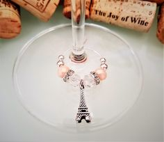 Paris Wine Charms Set of Eiffel Tower Wine Glass Charms, Paris Gift, Eiffel Tower Decor Favors, France Gift, Handmade by LasmasCreations by LasmasCreations on Etsy Wine Charms @ Paris Birthday Parties, Spa Birthday, Paris Party, Paris Gifts, Wine Glass Crafts, Wine Gift Baskets, Wine Decor, Wine Parties, Wine Charms