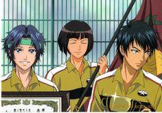 Yukimura, Yanagi, Sanada after winning the National Tournament in their Freshman year. Prince Of Tennis Anime, Anime Prince, Anime Love, The One, Animation, Celebrities, Freshman Year, Image, Geek