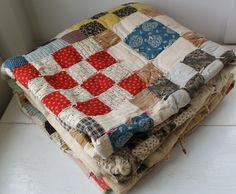 Squares Old Quilts, Antique Quilts, Vintage Quilts, Farmhouse Quilts, Antique Farmhouse, Textiles, Jacob's Ladder, Pattern Blocks, Block Patterns