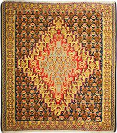 "Multi-colored Persian Kilim 4' 2"" x 4' 9"" (ft) http://www.alrug.com/10132"