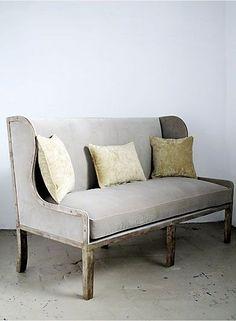 Ixelles Settee/ waxed canvas upholstery
