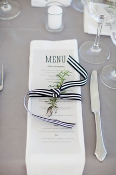 striped ribbon at each place setting to repeat the striped wedding paper pattern Mod Wedding, Nautical Wedding, Wedding Menu, Wedding Stationary, Wedding Paper, Wedding Table, Fall Wedding, Ribbon Wedding, Wedding Ideas