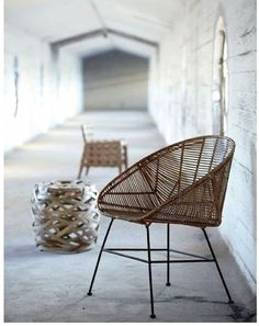 ★ From Danish designers House Doctor, a barrel silhouette and simple metal frame call to mind an Acapulco chair. A woven rattan Rotan Chair is from Living and Company. For more see Gardenista The Best Scandinavian Rattan Chairs ★ Sofa Rattan, Rattan Furniture, Wicker, Home Furniture, Furniture Design, Furniture Outlet, Furniture Vintage, Furniture Upholstery, House Doctor