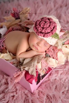 Crochet Newborn Baby Girl Flower Hat Crochet Newborn by giggalz, $15.99