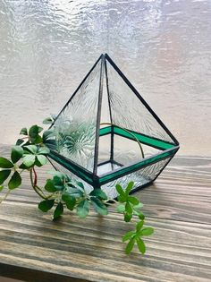 Stained Glass Ornaments, Stained Glass Crafts, Stained Glass Patterns, Stained Glass Windows, Fused Glass, Glass Planter, Glass Terrarium, Glass Green House, Glass Building