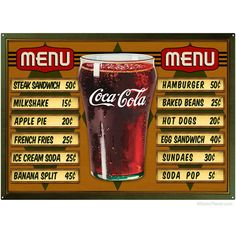 Coca-Cola ® Glass of Coke Sign ® and Menu Board Sign Set | Sign Sets | RetroPlanet.com ($65) found on Polyvore