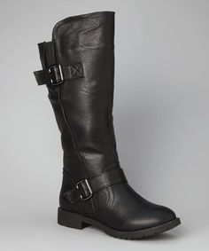 Take a look at this Black Double-Buckle Boot by TOP MODA on #zulily today!