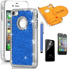 Pandamimi ULAK(TM) Chrome Glitter Bling Crystal Rhinestone Hard Case Cover for iPhone 4 4S 4G with Front and Back Screen protector and Stylus (Dark Blue) ULAK,http://www.amazon.com/dp/B00DZJJYLY/ref=cm_sw_r_pi_dp_vK98sb148J0TP9FX