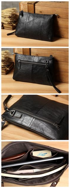 Handmade Men's Leather Clutch Handbag iPad Sleeve iPhone Case 14113 Overview: Design: Vintage Genuine Leather Clutch In Stock: 4-5 days For Making Include: Only Clutch Custom: No Color: Black, Coffee